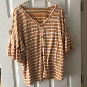 Yellow and white striped shirt